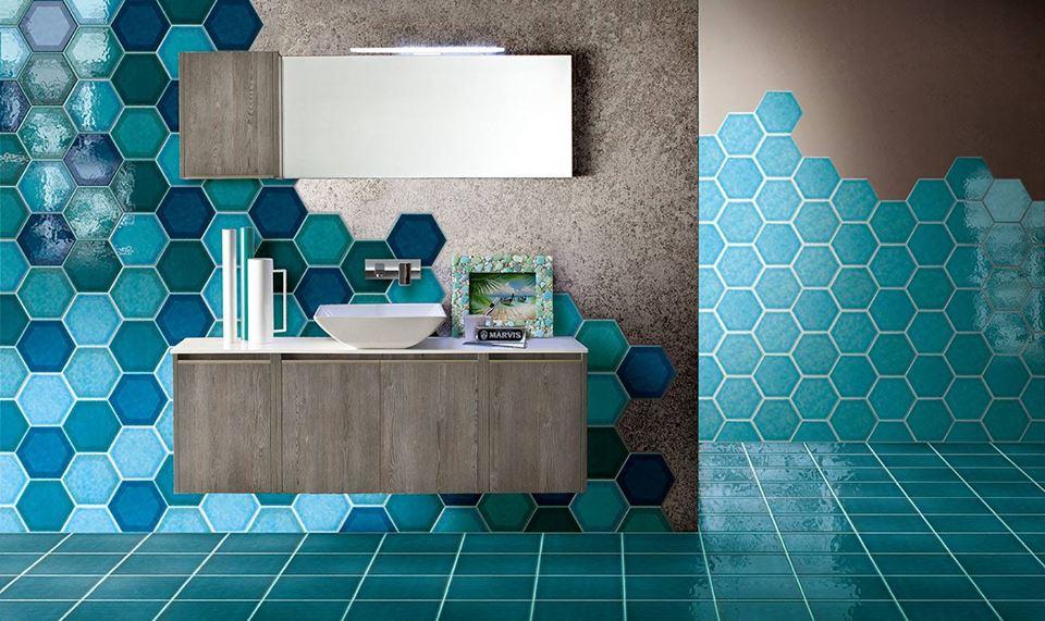 Cementine esagonali in bagno come utilizzarle per un ambiente